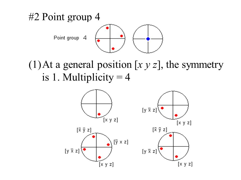 #2 Point group 4 At a general position [x y z], the symmetry is 1. Multiplicity = 4